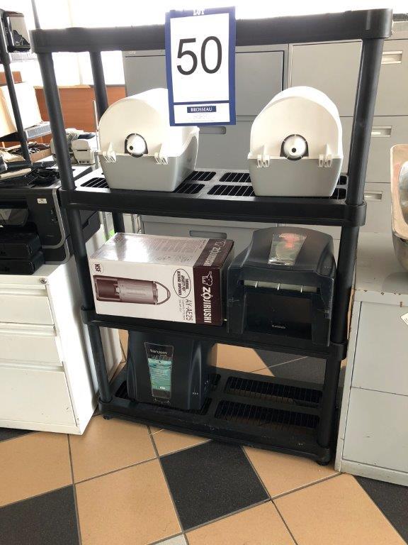 Lot 50 - Lot: étagère, 4 distributeurs à papier à main et réchaud à café ZOJIRUSHI