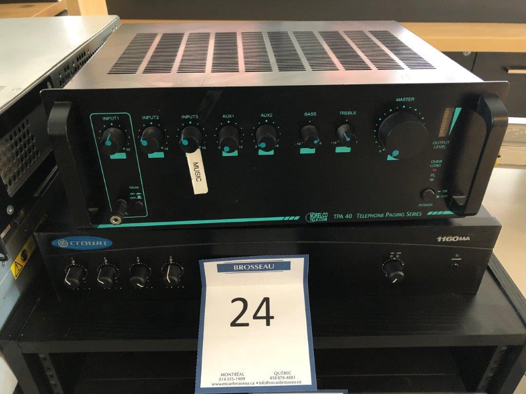 Lot 24 - Lot : ampli CROWN mod. 1160MA et téléphone paging system NORELCO TELECOM
