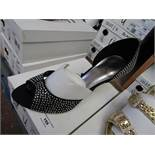 Unze by Shalamar Shoes Ladies Black & Diamante Shoes size 7 new & boxed see image for design