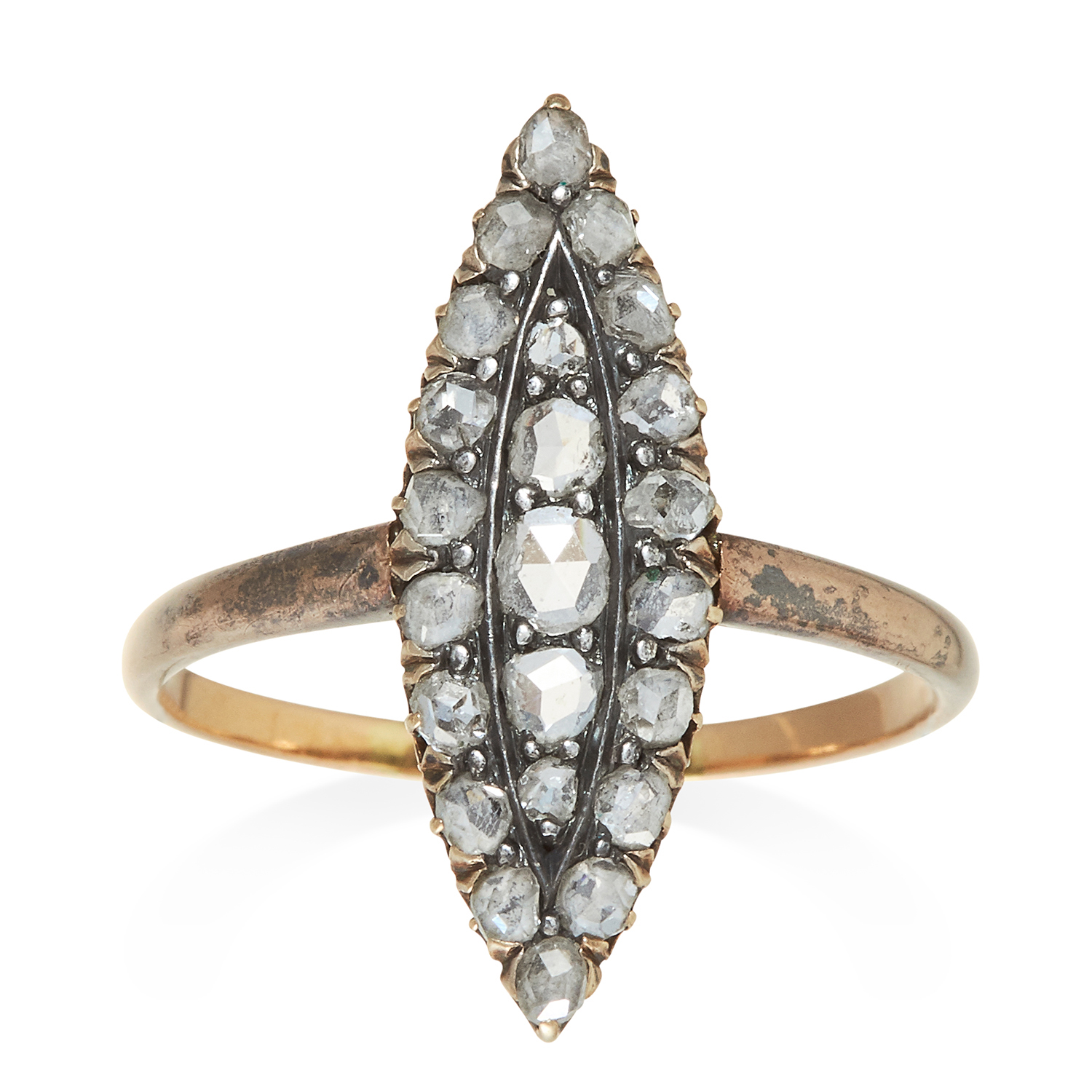 Los 301 - AN ANTIQUE DIAMOND DRESS RING in yellow gold and silver, the marquise face jewelled with rose cut