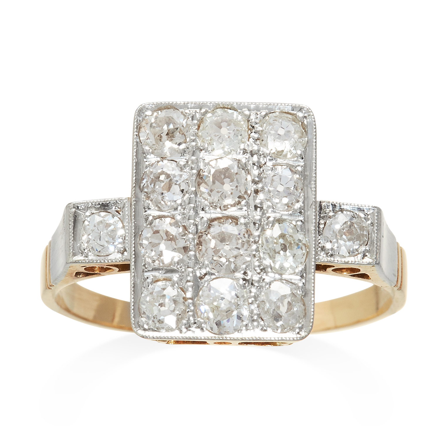 Los 326 - AN ART DECO DIAMOND RING in yellow gold and platinum, jewelled with fourteen round cut diamonds