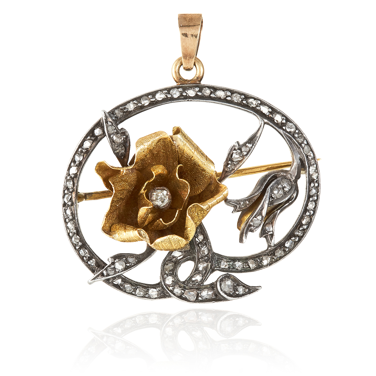 Los 357 - AN ANTIQUE DIAMOND FLOWER BROOCH, 19TH CENTURY in high carat yellow gold or silver, French marks,
