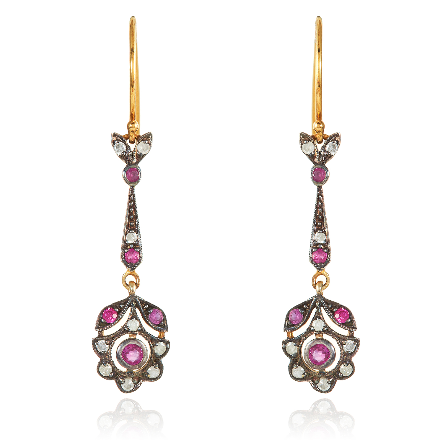 Los 305 - A PAIR OF RUBY AND DIAMOND EARRINGS in gold and silver, each cluster suspended below a jewelled