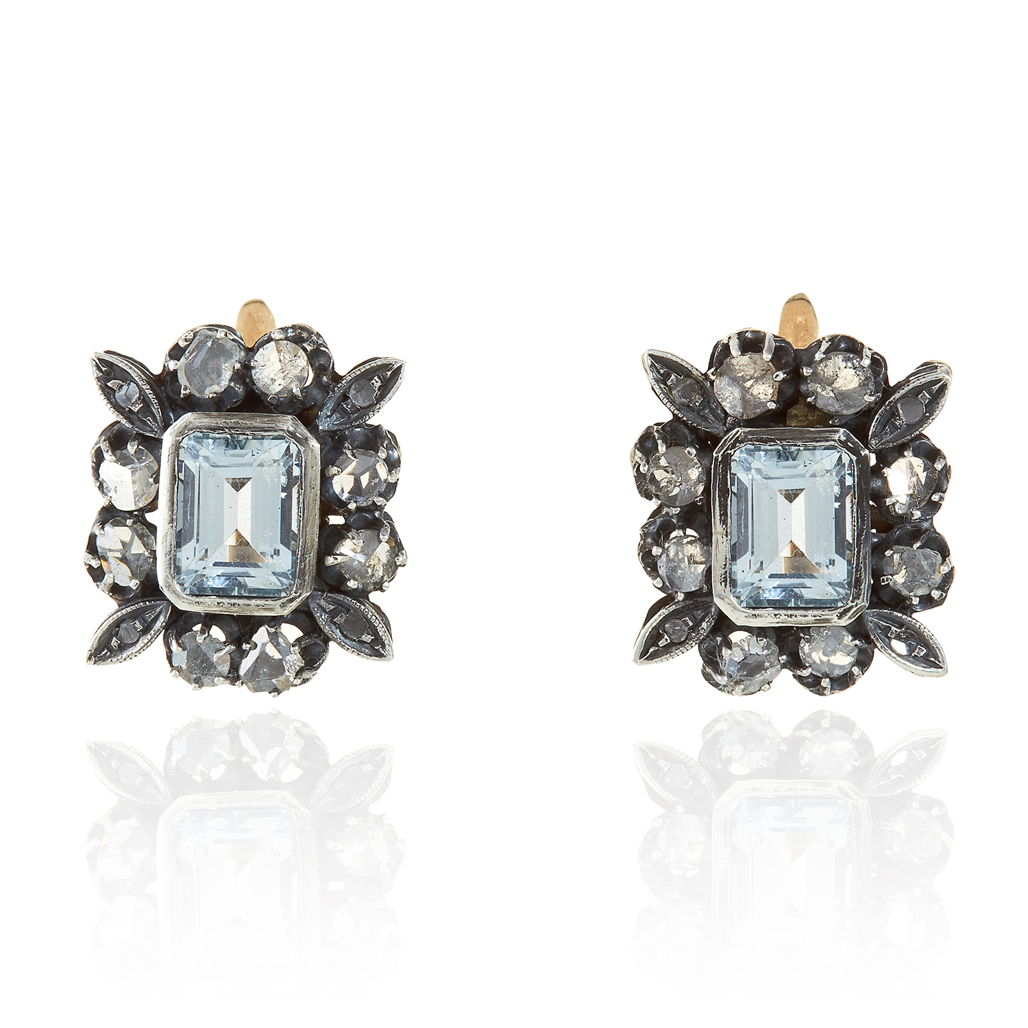 Los 315 - A PAIR OF AQUAMARINE AND DIAMOND EARRINGS in yellow gold and silver, the step cut aquamarines within