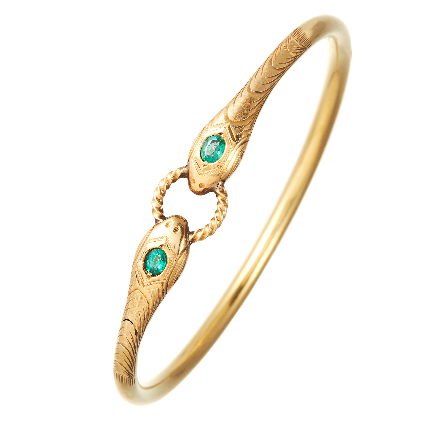 Los 324 - AN ANTIQUE EMERALD SNAKE BANGLE, 19TH CENTURY in high carat yellow gold, the snakes' heads