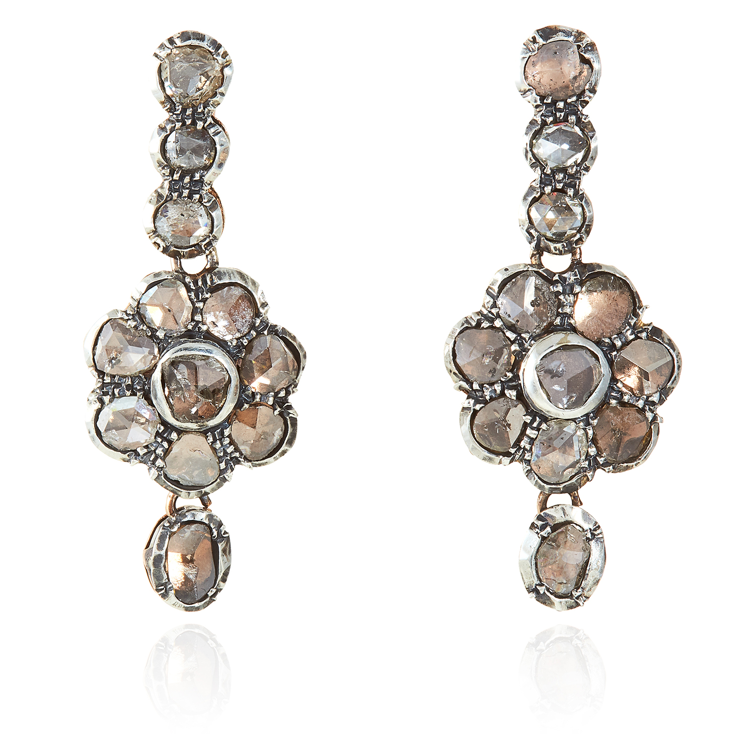 Los 309 - A PAIR OF ANTIQUE DIAMOND EARRINGS in yellow gold and silver, the articulated bodies jewelled with