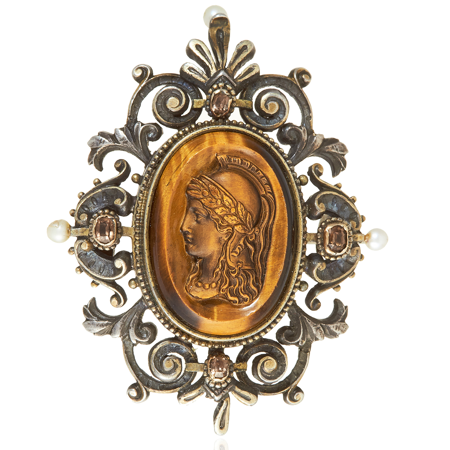Los 339 - AN ANTIQUE JEWELLED CARVED CAMEO BROOCH, 19TH CENTURY in silver, the tiger's eye carved cameo