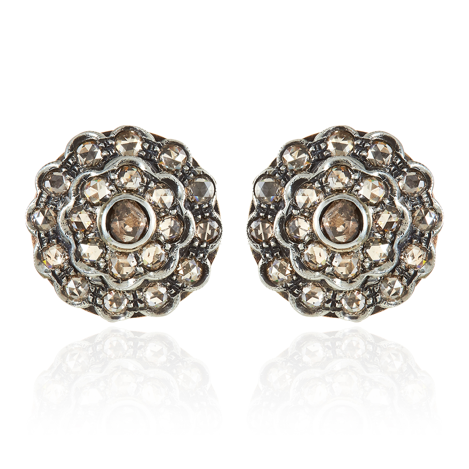 Los 307 - A PAIR OF DIAMOND CLUSTER EARRINGS in yellow gold and silver, formed of concentric rows of rose