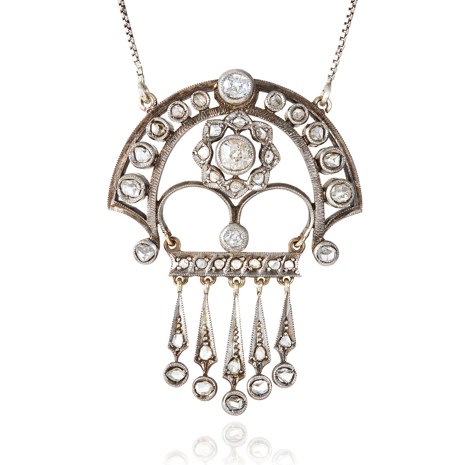 Los 306 - AN ANTIQUE DIAMOND PENDANT NECKLACE, EARLY 20TH CENTURY jewelled with round and rose cut diamonds,
