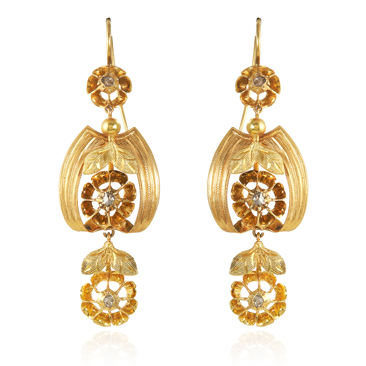 Los 302 - A PAIR OF ANTIQUE DIAMOND EARRINGS, 19TH CENTURY in high carat yellow gold, the articulated bodies