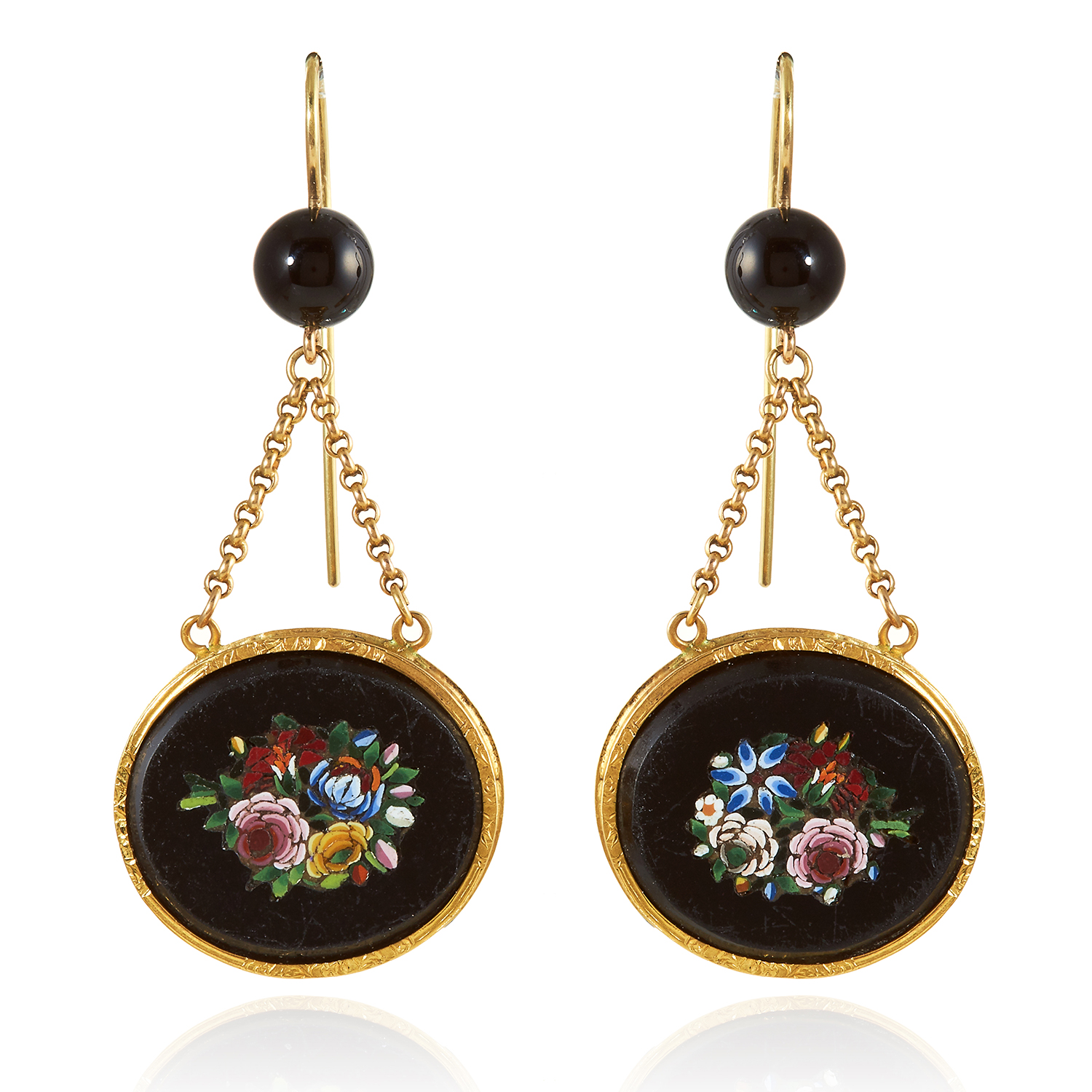 Los 342 - A PAIR OF ANTIQUE MICROMOSAIC EARRINGS, 19TH CENTURY in high carat yellow gold, each suspending an