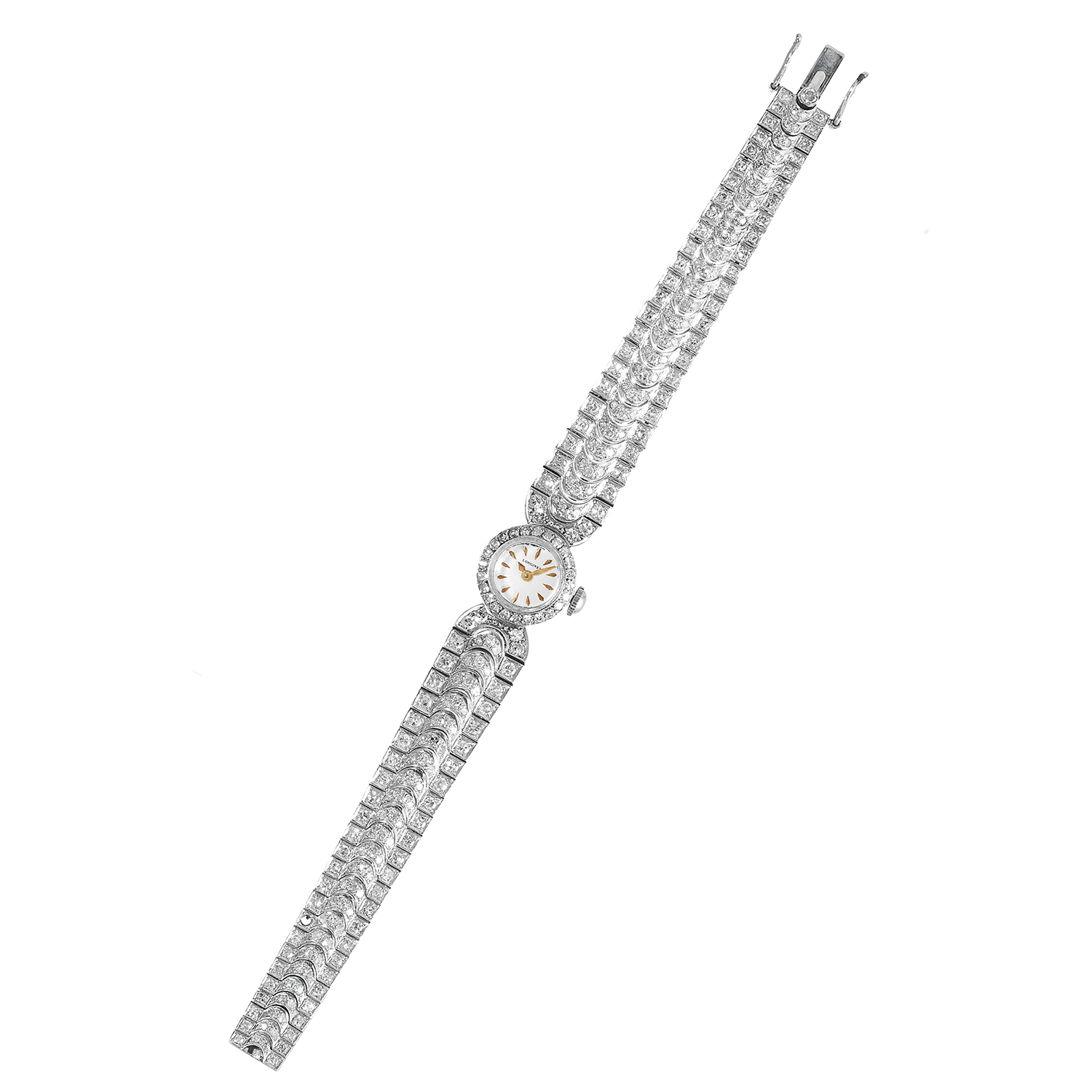 Los 457 - A DIAMOND JEWELLED WATCH, LONGINES in platinum, the strap jewelled with round cut diamonds with