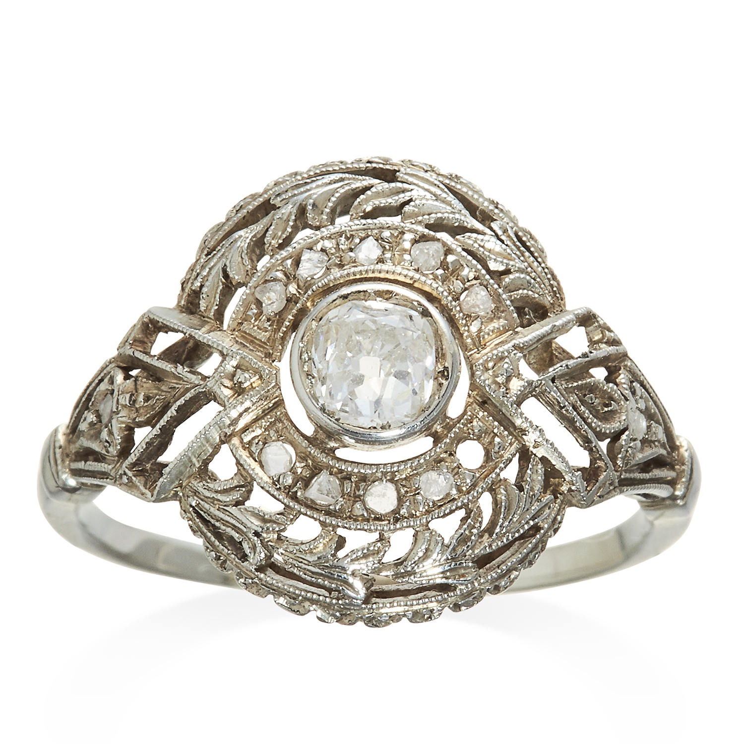 Los 314 - AN ART DECO DIAMOND RING in platinum or white gold, the 0.35 carat old cut diamond within diamond