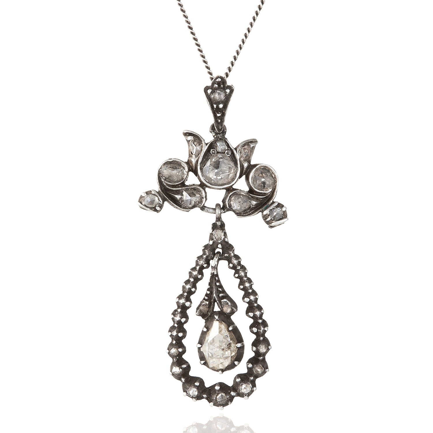 Los 335 - AN ANTIQUE DIAMOND PENDANT, DUTCH 19TH CENTURY in gold and silver, jewelled with rose cut
