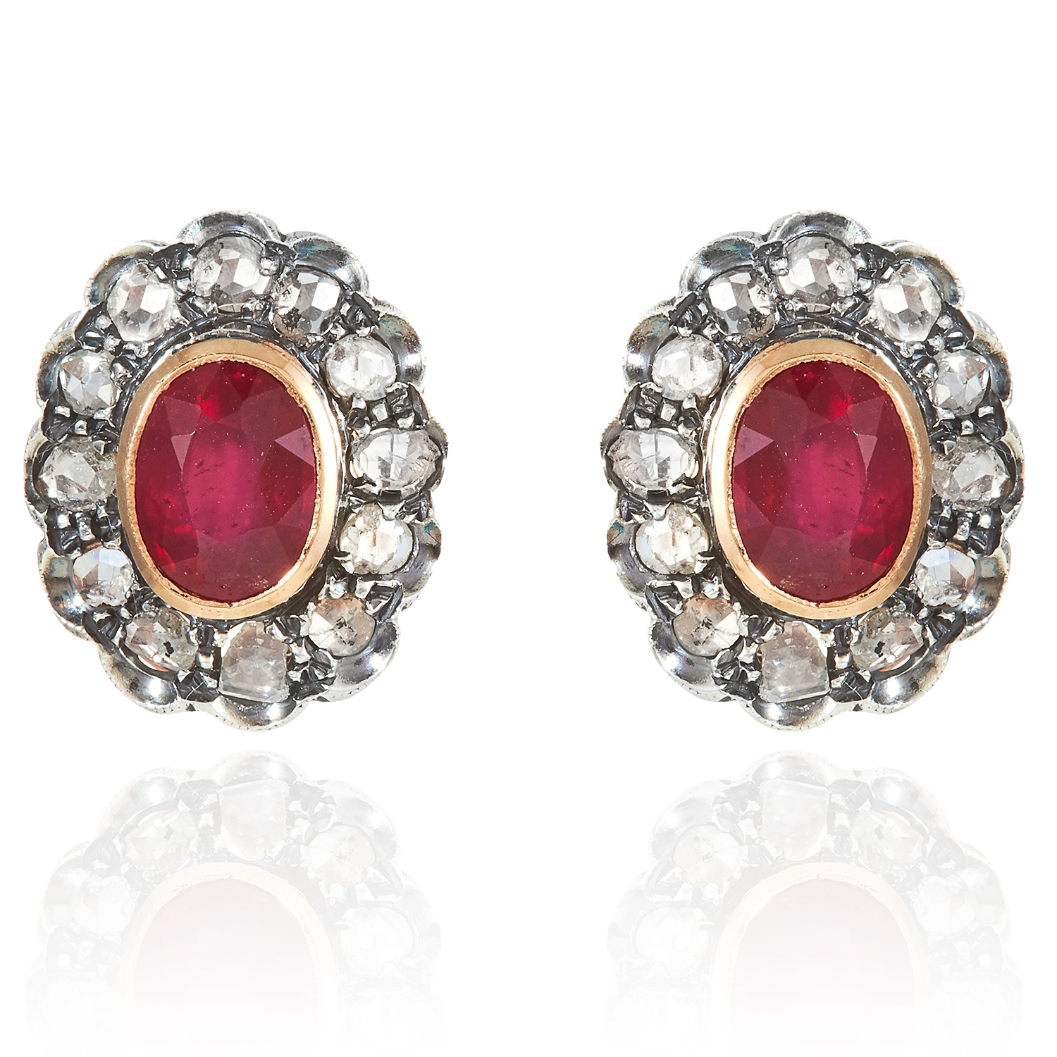 Los 317 - A PAIR OF RUBY AND DIAMOND CLUSTER EARRINGS in high carat yellow gold and silver, each set with a