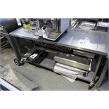 Stainless steel mobile prep table with dingle drawer and shelf 1800mm x 650mm
