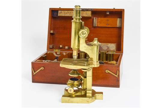 Mikroskop jena carl zeiss messing metall holzkasten h cm