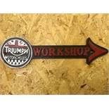 Triumph Motorcycles Workshop Arrow Wall Plaque