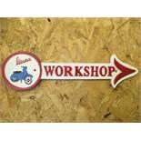 Vespa Workshop Arrow Wall Plaque