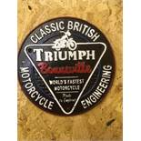 Triumph Motorcycle Round Wall Plaque
