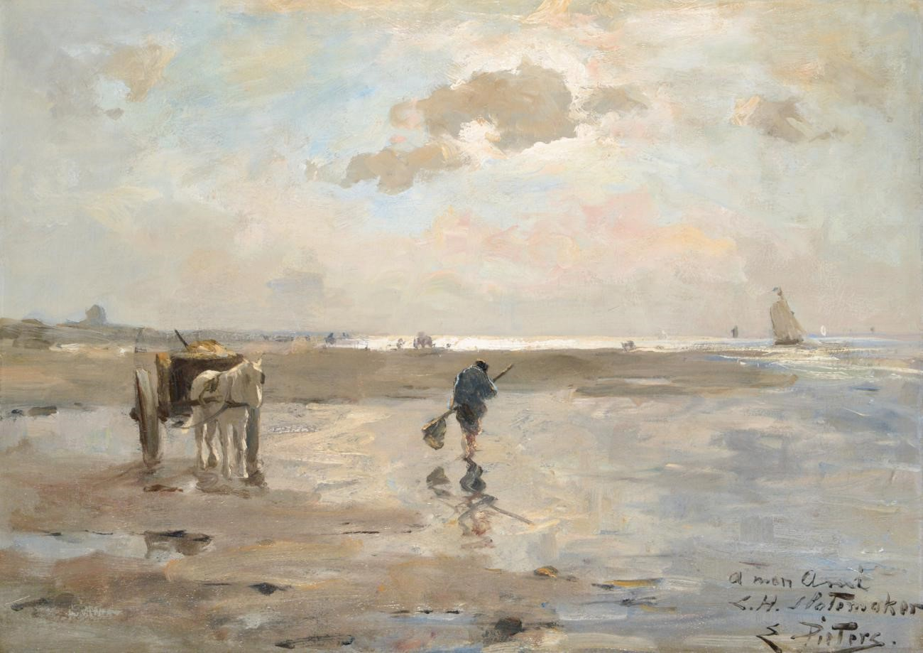 Lot 25 - Evert Pieters (1852-1932) Dutch Shrimpers on a shore Signed and inscribed, oil on canvas, 59cm by