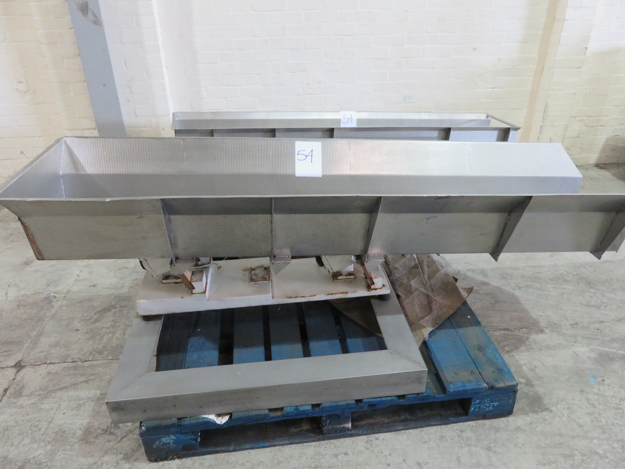 Lot 54 - 2 x Vibratory feed systems by Multipoint. S/s on S/s frames.LIFT OUT £10