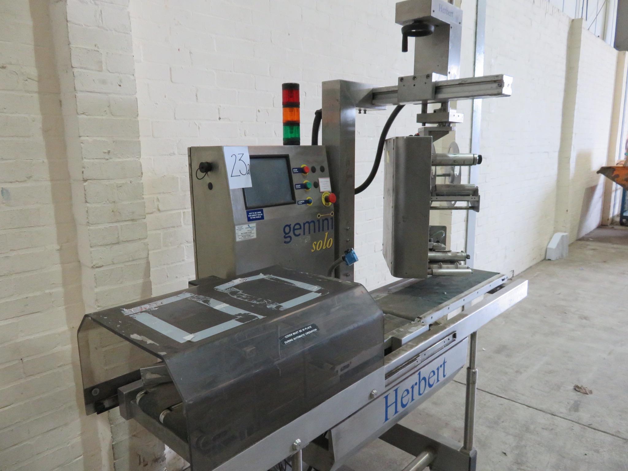 Lot 23A - Herbert Gemini Solo - Weigh, price & labelling machine. Model Gemini. Weigh platform LIFT OUT £10