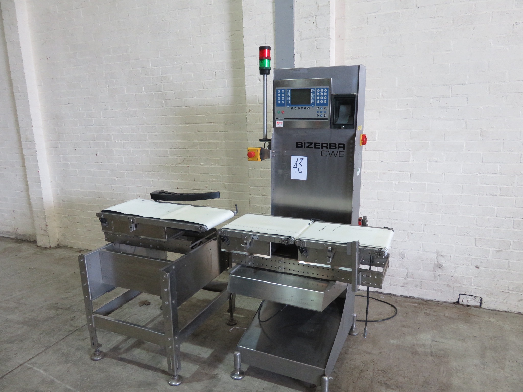 Lot 43 - Bizerba CWE Check Weigher. Platform 420 long x 300 wide. With printer. Push arm reject LIFT OUT £10