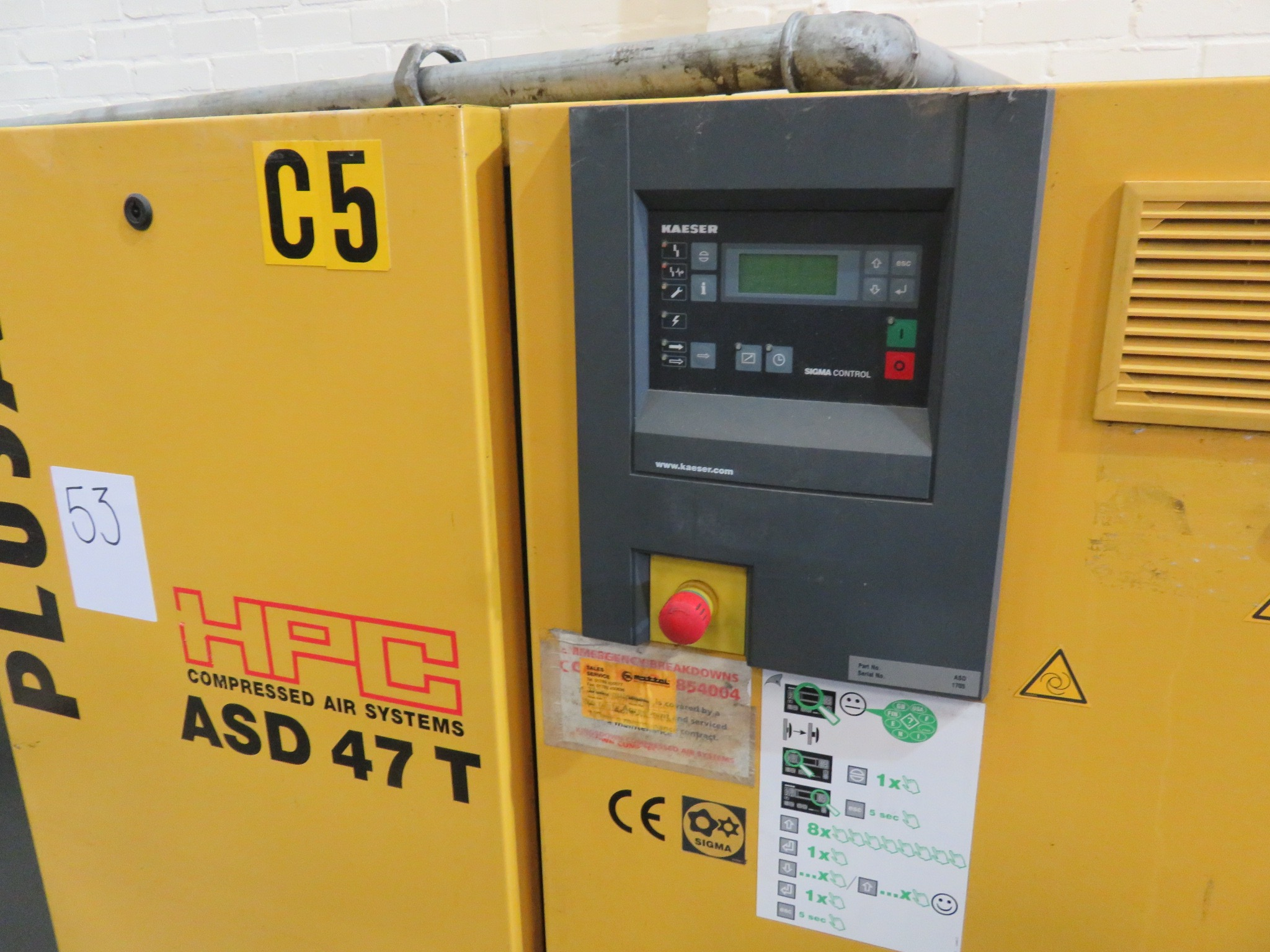 Lot 53 - Pulsair HPC Compressor. Air System. Type ASD 47T. Sigma control. SN 1705. Rated power 25.0kw Motor