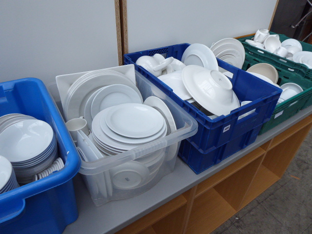 Lot 489 - 6 trays and boxes of assorted white crockery including dinner plates, side plates, cups, saucers,