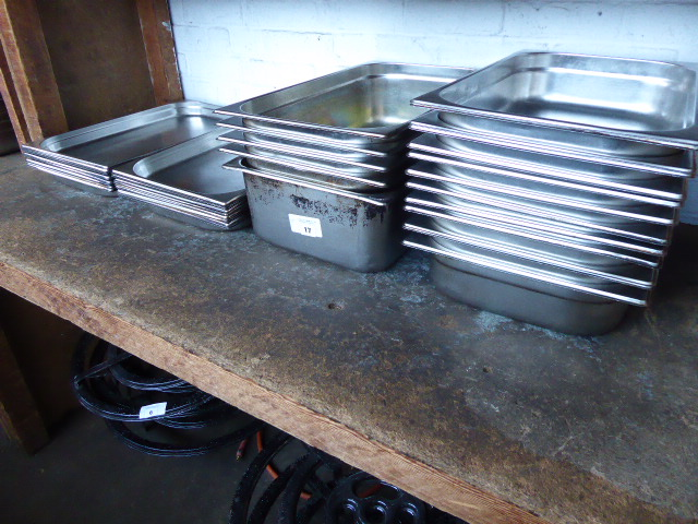 Lot 17 - Approximately twenty Gastronorm stainless steel shallow pans and approximately twenty deep stainless