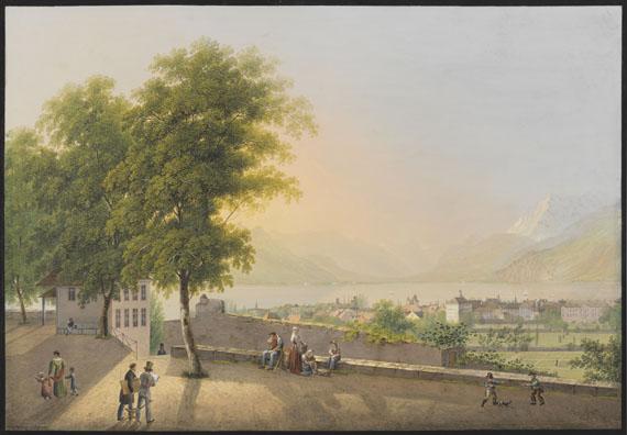 Lot 3 - Johann Heinrich Bleuler d. J. 1787 Zollikon bei Zürich - 1857 Feuerthalen Aussicht von Vevey über