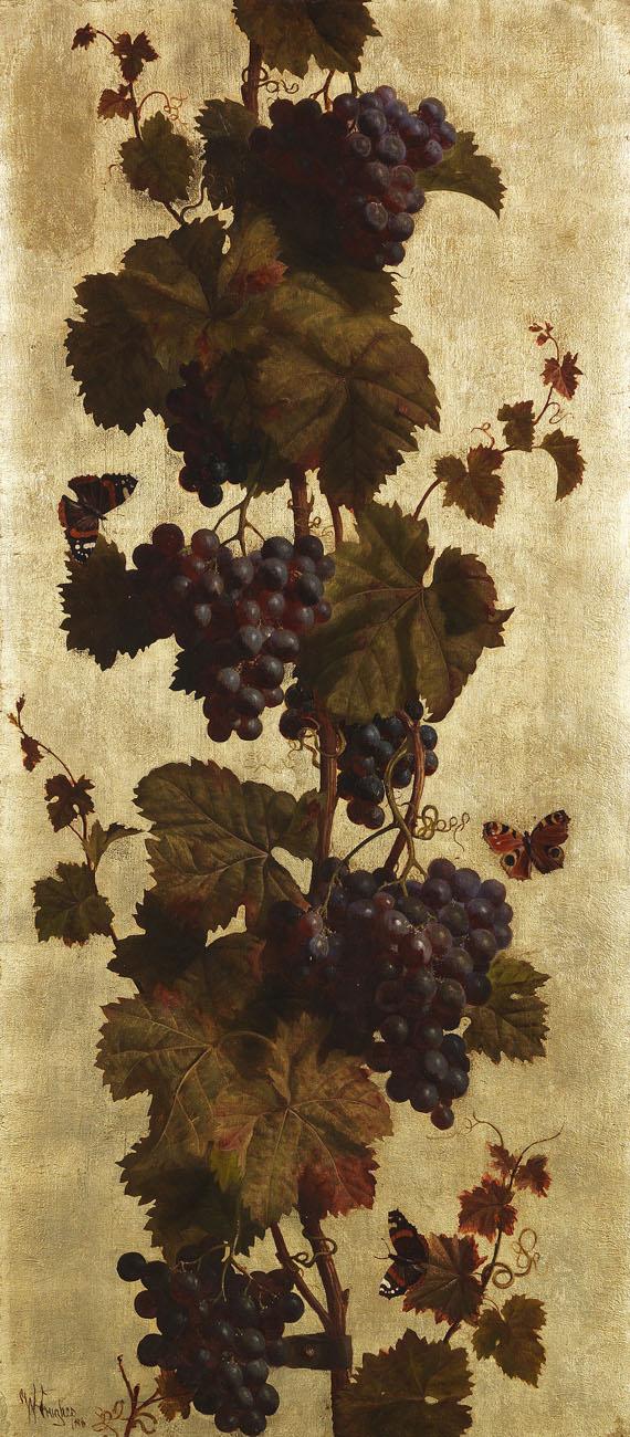 Lot 59 - William Hughes 1842 Lanarkshire - 1901 Brighton Weinreben, weiß und rot. 1886. Diptychon: Öl und