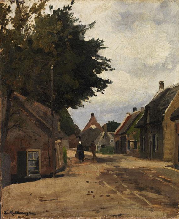 Lot 55 - Friedrich Kallmorgen 1856 Hamburg - 1924 Grötzingen Sommerliche Dorfstraße. Ca. 1885. Öl auf