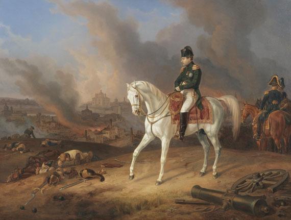 Lot 7 - Albrecht Adam 1786 Nördlingen - 1862 München Napoleon vor dem brennenden Smolensk. 1836. Öl auf
