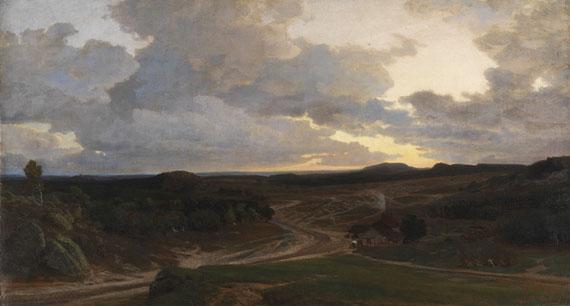 Lot 31 - Valentin Ruths 1825 Hamburg - 1905 Hamburg Abendstimmung in der Heide. 1878. Öl auf Leinwand. Rechts