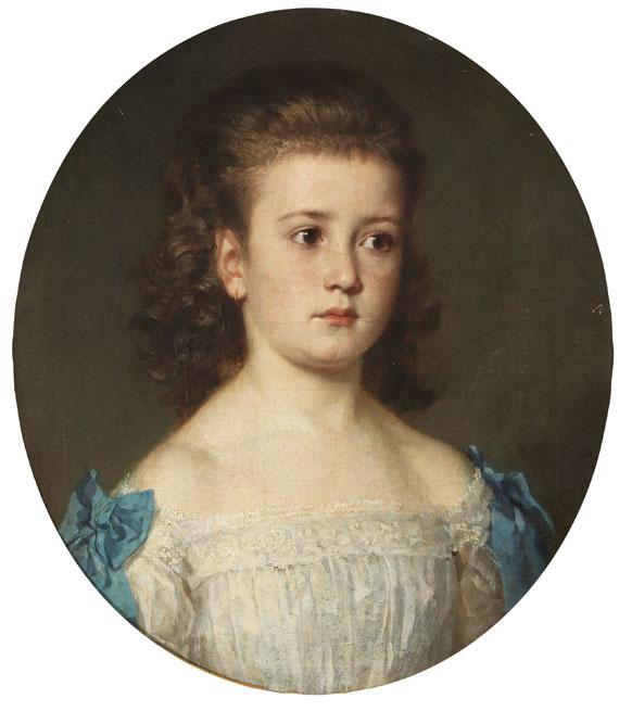 Lot 60 - Fritz Paulsen 1838 Schwerin - 1898 Berlin Porträt eines Mädchens mit Goldohrring. 1877. Öl auf