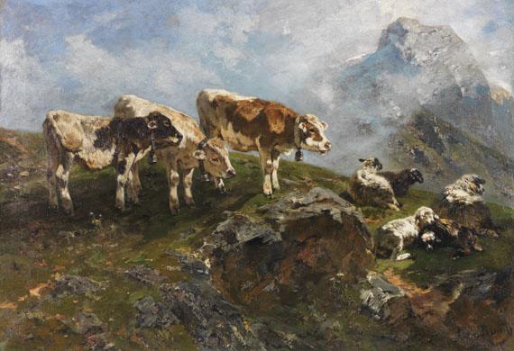 Lot 50 - Anton Braith 1836 Biberach an der Riss - 1905 Biberach an der Riss Kälber und Schafe im Hochgebirge.