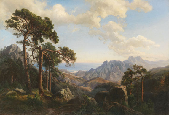 Lot 28 - Carl Hummel 1821 Weimar - 1906 Weimar Aussicht vom Col di Sorba bei Vivario mit Pinien, Korsika.