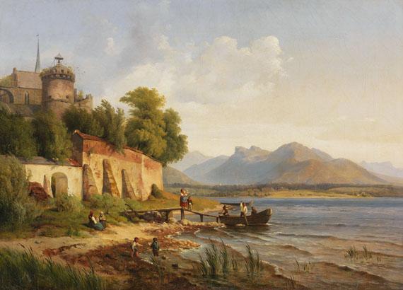 Lot 24 - Louis Gurlitt 1812 Altona - 1897 Nauendorf Oberitalienische Küstenlandschaft mit Figurenstaffage.