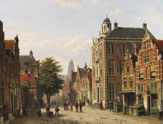 Lot 47 - Willem Koekkoek 1839 Amsterdam - 1895 London o. Nieuwer-Amstel Holländische Stadtansicht im