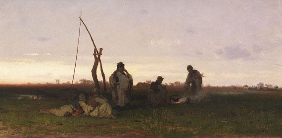 Lot 41 - Pál (Paul) Böhm 1839 Nagyvárad - 1905 München Ungarische Bauern bei der Rast. 1872. Öl auf Holz.