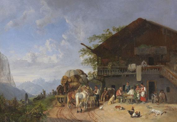 Lot 6 - Heinrich Bürkel 1802 Pirmasens - 1869 München Rast vor einem Gasthof in den Bergen. Um 1846/1857. Öl