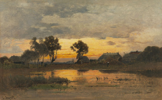 Lot 32 - Louis Douzette 1834 Tribsees - 1924 Barth/Ostsee Abenddämmerung am Weiher. Um 1870. Öl auf Leinwand.