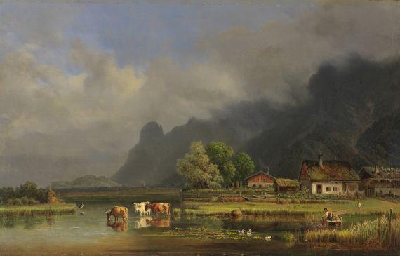 Lot 15 - Heinrich Bürkel 1802 Pirmasens - 1869 München Der Kochelsee mit den Häusern von Schlehdorf. Um