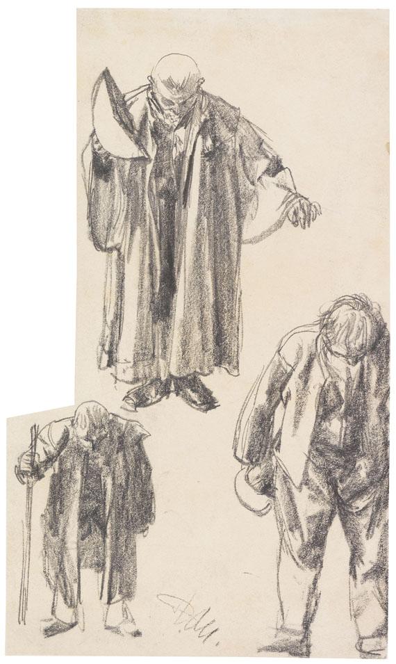 Lot 58 - Adolph von Menzel 1815 Breslau - 1905 Berlin Drei Figurenstudien ('Der Zerbrochene Krug'). 1877.