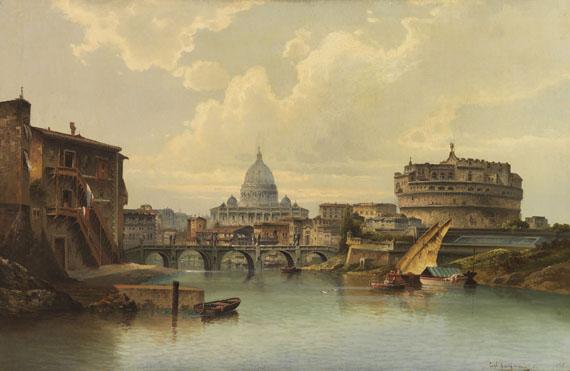Lot 29 - Karl Kaufmann 1843 Neuplachowitz - 1901 Wien Ansicht von Rom mit St. Peter und Engelsburg. Wohl um