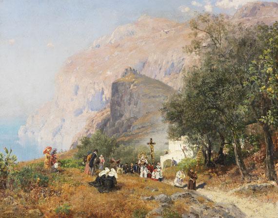 Lot 38 - Carl Wuttke 1849 Trebnitz - 1927 München Prozession auf Capri. 1893. Öl auf Leinwand. Links unten