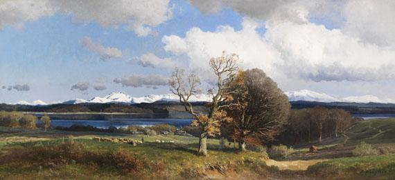Lot 23 - Josef Wenglein 1845 München - 1919 Bad Tölz Blick auf den Simssee im Frühling. Wohl um 1880. Öl