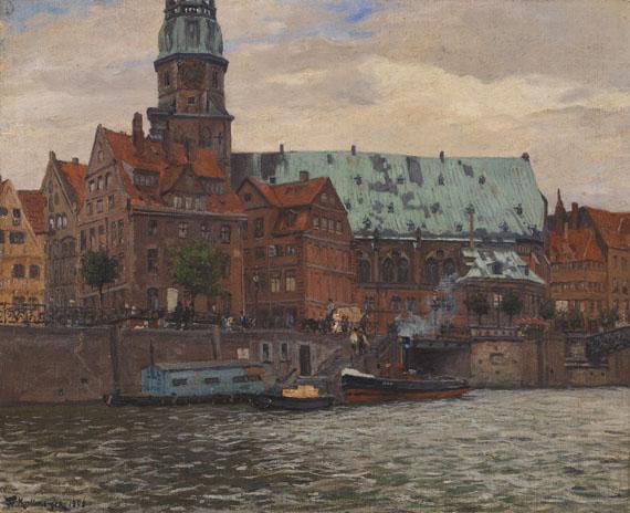 Lot 56 - Friedrich Kallmorgen 1856 Hamburg - 1924 Grötzingen Blick auf die St. Katharinenkirche in Hamburg.